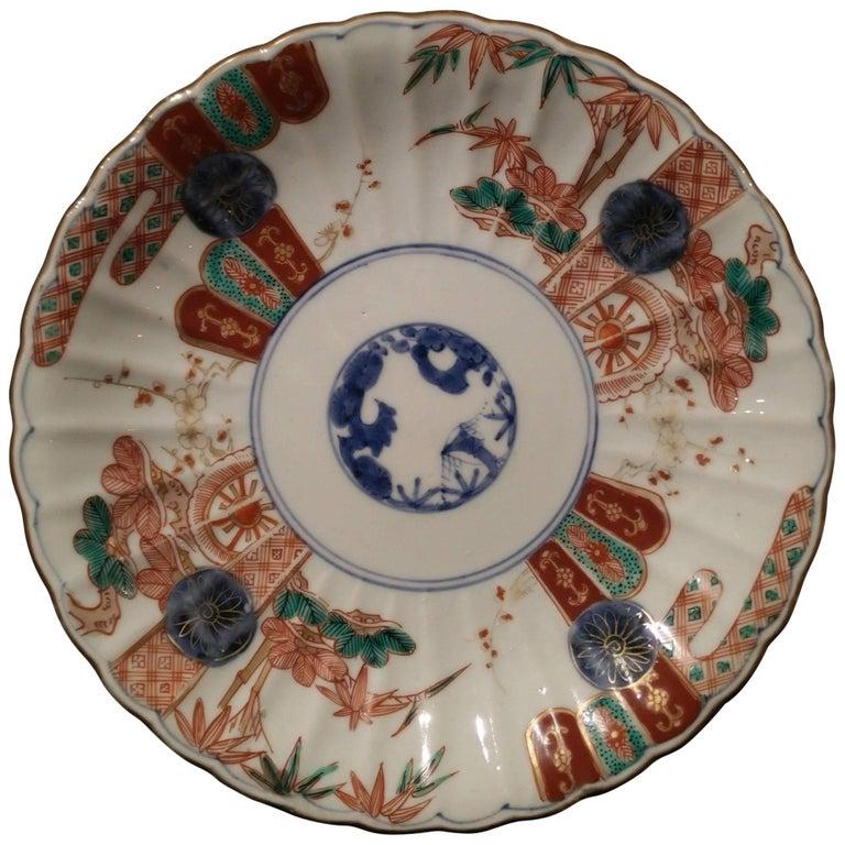 18th Century Japanese Imari Porcelain Chrysanthemum Shaped Plate