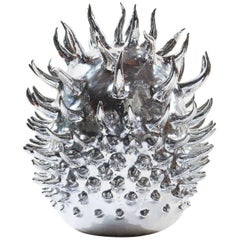 Aquarian Star, Unique Silver Nitrate-Plated Ceramic Sculpture