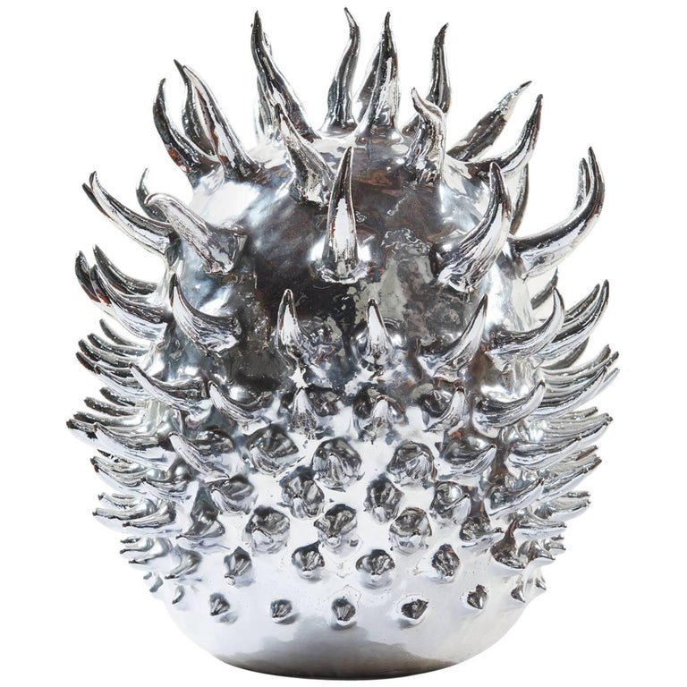 Aquarian Star, Unique Silver Nitrate-Plated Ceramic Sculpture For Sale