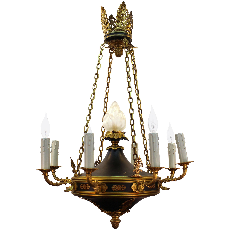 French Empire Nine Light Chandelier