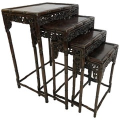 Four Chinese Rosewood Nesting Tables, circa 1920, Floral Motif
