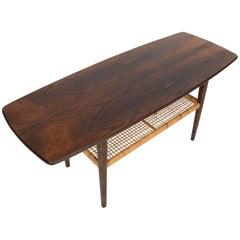 Danish Mid-Century Modern Brazilian Rosewood adn Cane Surfboard Coffee Table