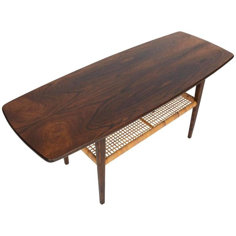 Mid Century Surfboard Coffee Table At 1stdibs: Danish Mid-Century Modern Brazilian Rosewood Adn Cane
