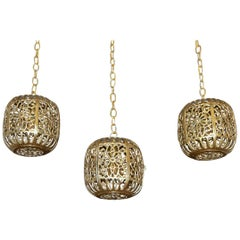 Trio Pierced Brass Asian  Ceiling Pendant Lights