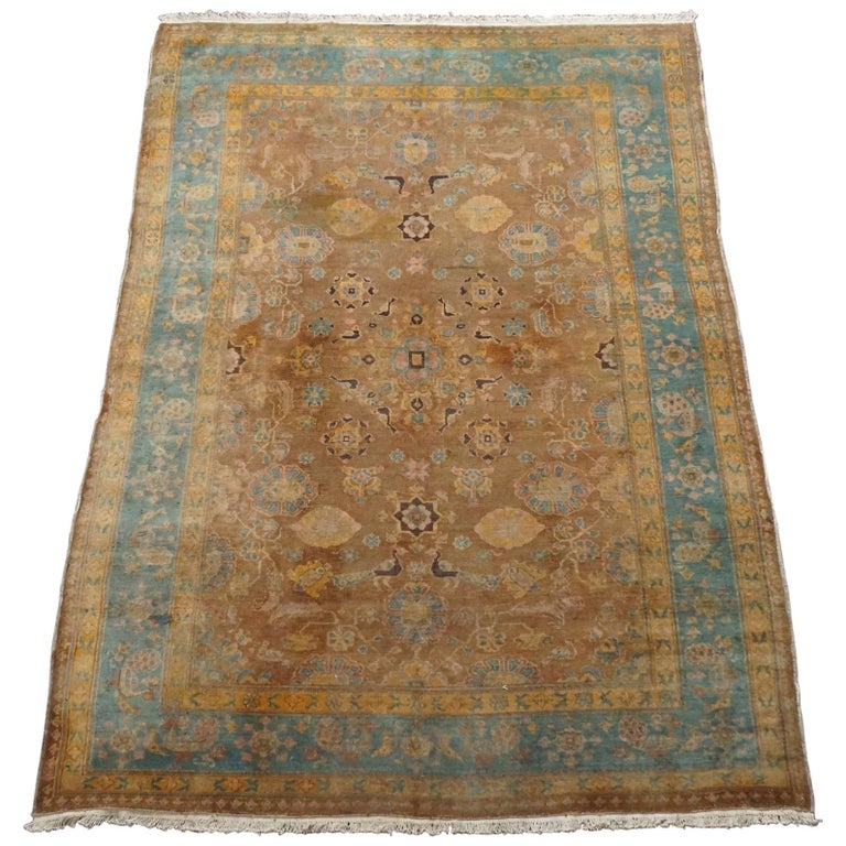 Antique Cotton Agra Rug With Abrash Circa 1900 For Sale: Brown Indian Agra Rug, Circa 1890 For Sale At 1stdibs