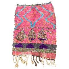 Moroccan Vintage Hand Loomed Boucherouite Berber Rug, Atlas Mountains
