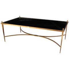 Jansen Coffee Table, Bronze, Mirror Top with Bronze Finials