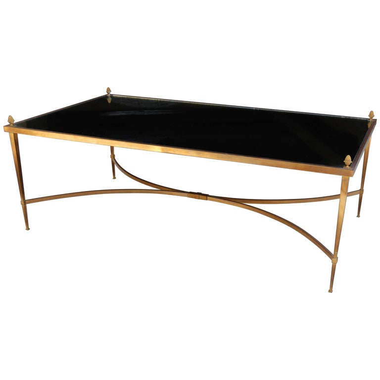 Jansen Coffee Table, Bronze, Mirror Top with Bronze Finials For Sale