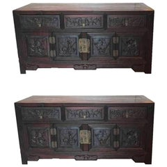 Pair of Chinese Rosewood Small Chests, Early 20th Century, Late Qing