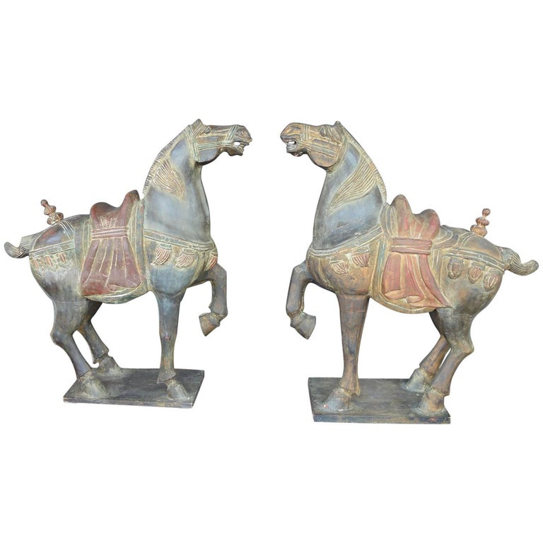 Pair of Hand-Carved Wooden Horses For Sale