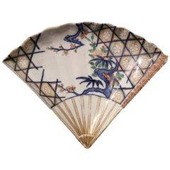 Late 17th Century Genroku Period Japanese Imari Porcelain Fan-Shaped Dish