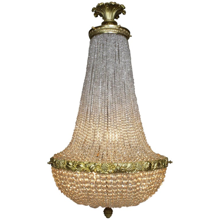 French 19th Century Louis XVI Style Gilt-Bronze and Cut-Glass Chandelier