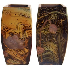 Pair of Art Nouveau Riedel Lithyalin Barrel Vases