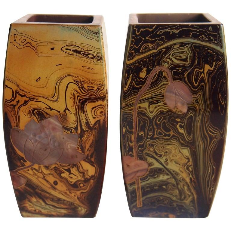 Pair of Art Nouveau Riedel Lithyalin Barrel Vases For Sale