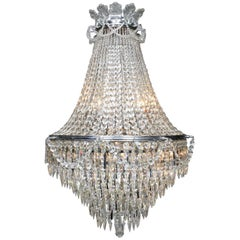 French Belle Epoque 19th-20th Century Cut-Glass Chandelier, Baccarat Attributed