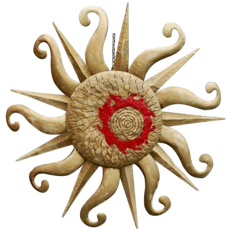 Rare and Large Handmade Brutalist Sculpture of the Sun style of Tony Duquette