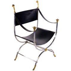Maison Jansen Savonarola Steel and Brass Leather Chair