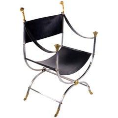 Maison Jansen Savonarola Steel and Brass Leather Chair