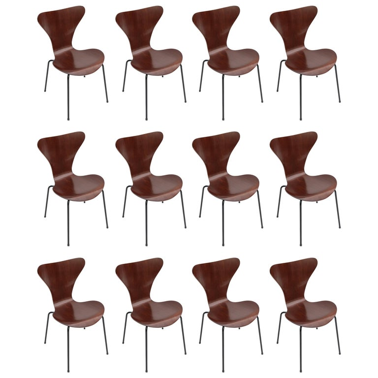 Set of Twelve 1960s Formiga Brazilian Jacaranda and Metal Dining Chairs
