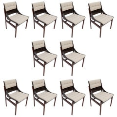 Set of Ten 1960s Concha Brazilian Jacaranda Dining Chairs