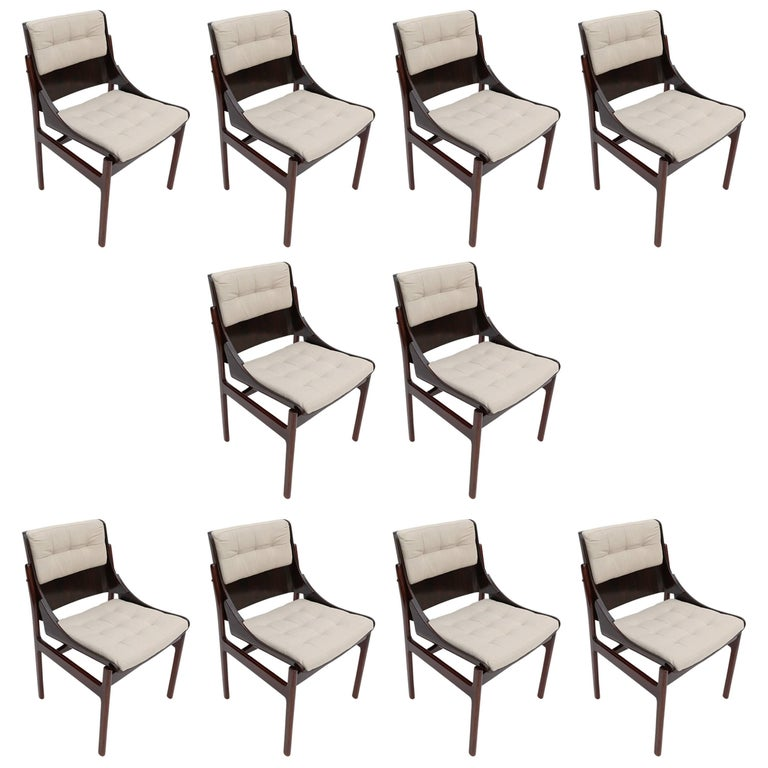 Set of Ten 1960s Concha Brazilian Jacaranda Dining Chairs For Sale