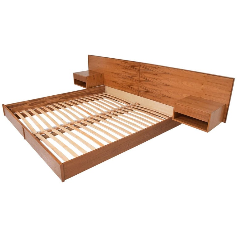 Danish Teak King Platform Bed With Floating Nightstands By