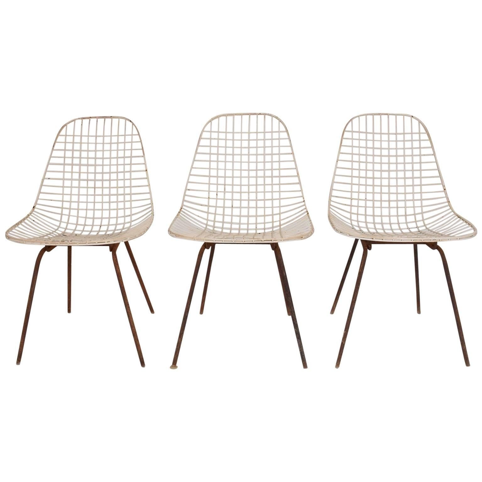 Set of Three Wire Chair DKX 5 by Ray & Charles Eames Designed in 1951