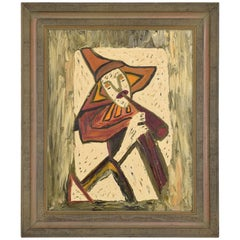 Mid-Century Modern Oil in Board Painting Wall Art, Musician 1968, Velma Blume