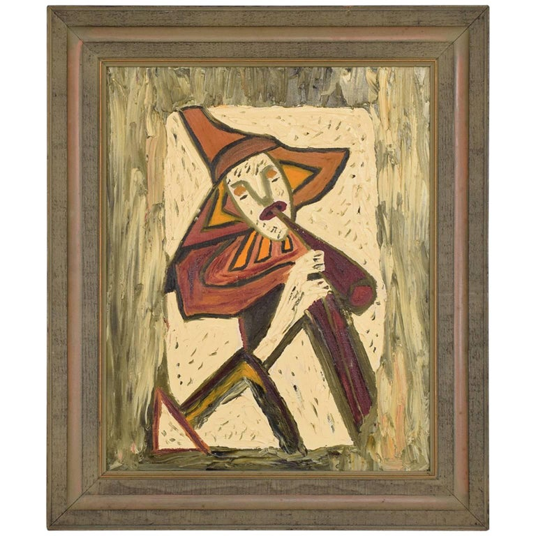Mid-Century Modern Oil in Board Painting Wall Art, Musician 1968 ...