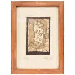 Mid Century Modern Etching  28/35  Signed IN the Style of Miro Calder