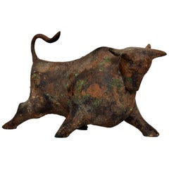 Mid-Century Modern Japanese Iron Bull Table Sculpture