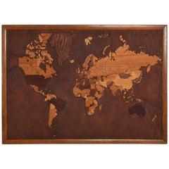 Vintage Antique Wood World Map Custom Carpentry Work