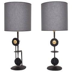 Mid-Century Modern Brutalist Pair of Italian Table Lamps
