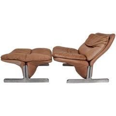 Mid-Century Modern Leather Lounge Chair and Ottoman by Ammanati & Vitelli