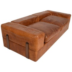 Mid-Century Modern Italian Leather Sofa Bed by Tito Agnolli