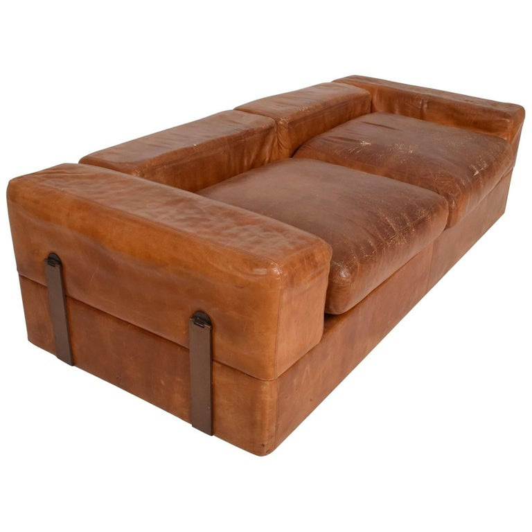 Mid Century Modern Italian Leather Sofa Bed By O Agnolli For