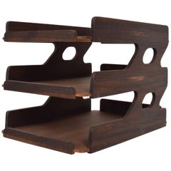 Miid-Century Modern Rosewood Office Tray Desk Accessory