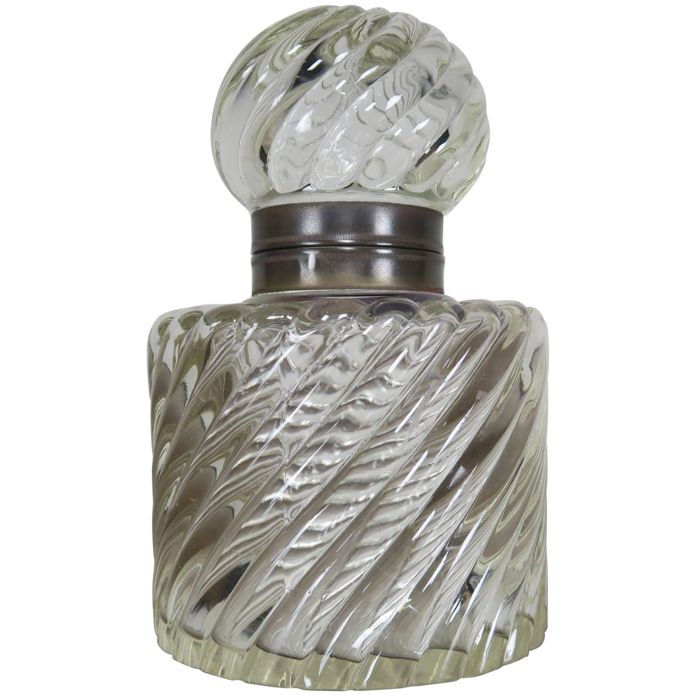 19th Century Baccarat Crystal Swirled Inkwell