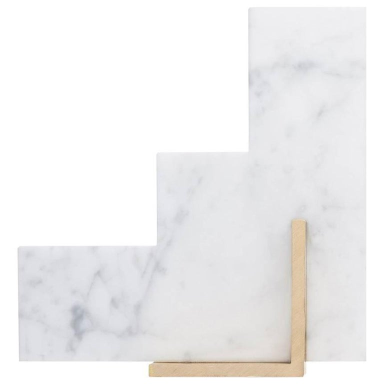 Steppy Bookend in Carrara Marble For Sale