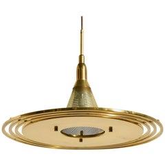 Saturn Mid-Century Modern Perforated Brass Pendant by Lightolier