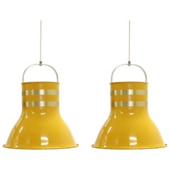 Pair of Large Swedish Ceiling Lights by Per Sundstedt for Kosta, 1970s