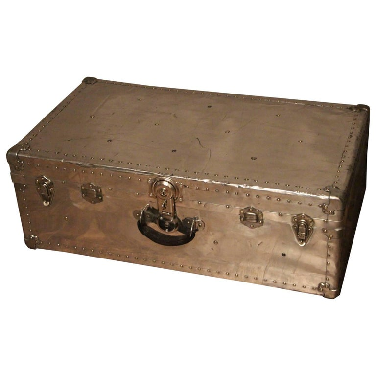 1940s Polished Aluminum Cabin Steamer Trunk For Sale At