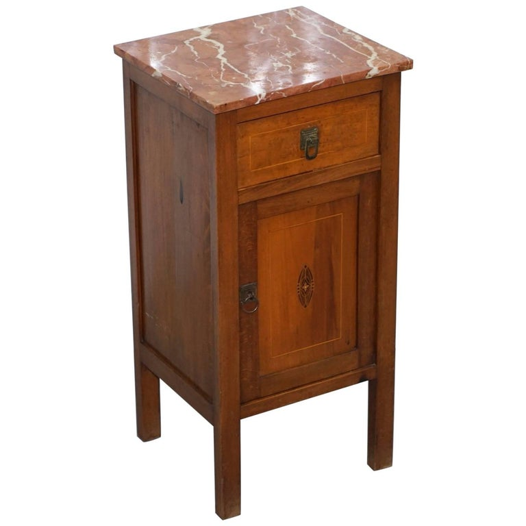 Lovely Vintage Antique Oak Side Cabinet Cupboard Table with Solid Marble Top