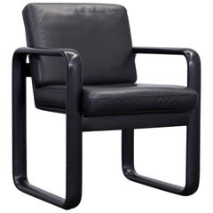 Rosenthal Studio Line Designer Leather Chair Black One Seat Wood Vintage