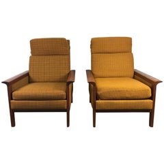 Classic Danish Modern High Back Teak Lounge Chairs by Hans Olsen