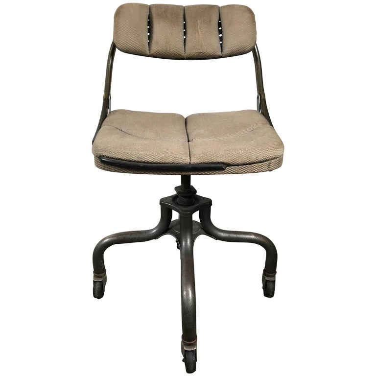Early Antique Industrial Adjustable Rolling Desk Chair By Domore For