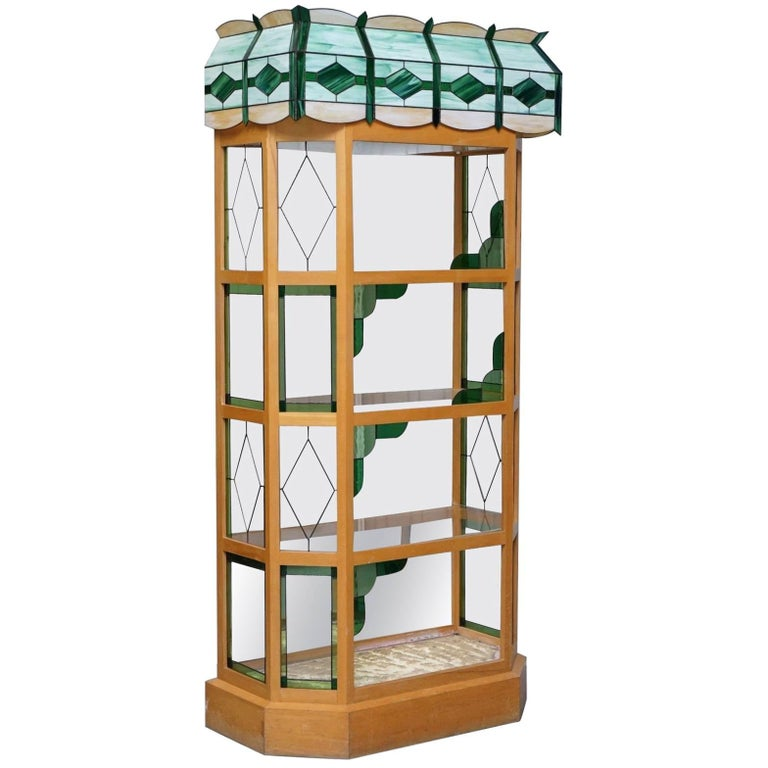 Pet Shop or Plant Shop Style Bookcase with Tiffany Glass Style Top Must See Pics