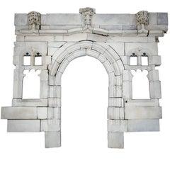 19th Century Gothic Arched Bath Stone Doorway Entranceway with Mullion Windows