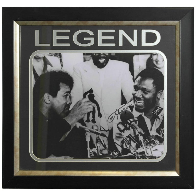 Signed Joe Frazier Thrilla in Manilla & Muhammad Ali Boxing Picture Autographed For Sale