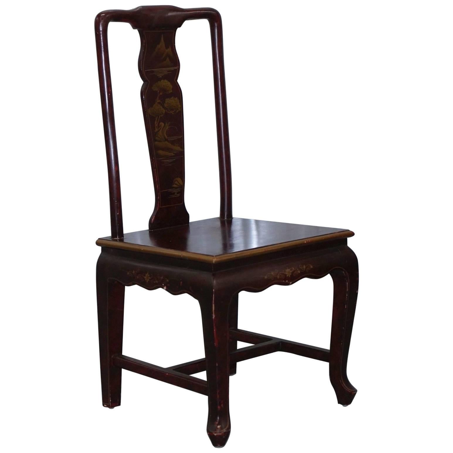 Antique Lacquered Chinese Chair of Medium Proportions Bonsai Tree Detail